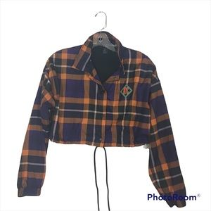 Forever 21 Cropped Plaid Nylon Jacket in Medium